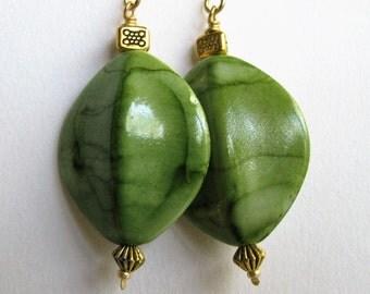 Green and Gold Earrings, Green Batik Oval Earrings, Large Spring Green Earrings