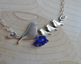 Mother Bird and Babies Necklace, Birds on a Wire Necklace, Cobalt Blue Czech Glass Flower and Silver Necklace