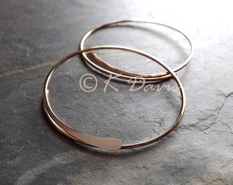 Gold Hammered Open Hoops, 14K Gold Filled Hoop Earrings, Yellow gold or Rose Gold, choose your size