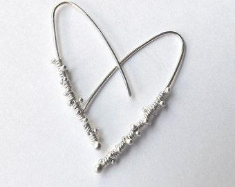 Open Hoop Earrings, Sterling Silver Hoops, Dewdrop Twisted Wrap Threader Dangle Earring Eco Friendly Gift for Women, jewelry gift