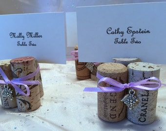 Wine Cork Place Card Holder Table # Menu Holder with Grapes Charm & Your Color Ribbon Wedding Reheasal Dinner Wine Event Favor