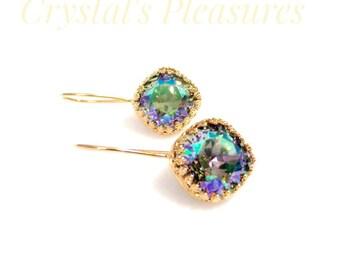 Gold Crown Bezel Crystal Paradise Sine Swarovski Crystal Element Earrings