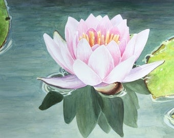 """LARGE painting Original watercolor water lily, lotus, yoga wall art by Paige Smith-Wyatt ready to hang 36"""" x 48"""""""