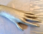 Vintage Gold Heavy Iron Hand from Statue with Long Creepy Fingers