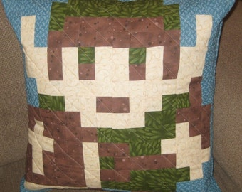 Link Quilted Pillow Cover - Medium Blue Background - Free USA Shipping