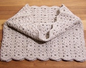 Alpaca Circle Scarf - Crochet Lace Cowl - Neck Warmer - Light Fawn