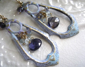Bohemian Chandelier Earrings Periwinkle Blue Iolite Earrings Water Sapphire Patina Brass Chandelier Earring