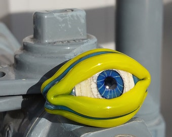 Three Sided Evil Eye Lampwork Glass Bead