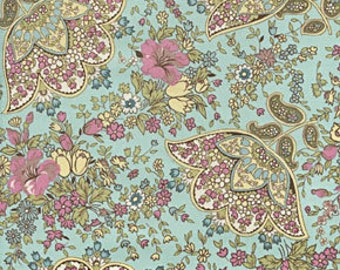 Amy Butler Charm Blue Floral fabric | Cotton Quilting fabric | Last yard