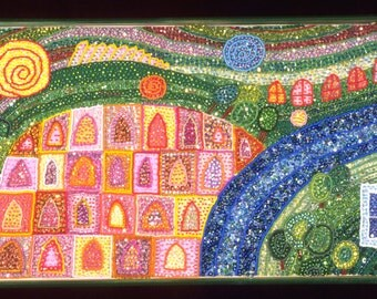Fine art - Bead Embroidery - Divided City