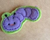 Caterpillar Felt Applique Hair Clip, Purple Caterpillar Felt Applique Hair Barrette (Item 16-018)