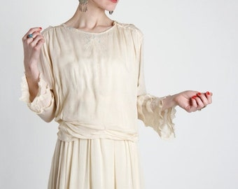 ON SALE Antique Ivory Silk Gown . 1910s Dress with Beading.  Romantic