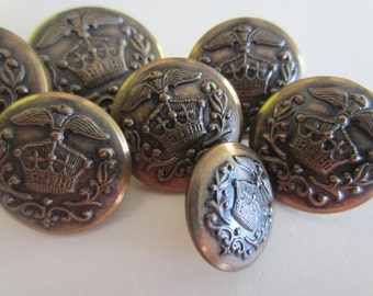 Vintage  Buttons - 7 matching, assorted sizes, 1/2-7/8 inch royal crested crown design, bronze metal (lot no. nov 339b)