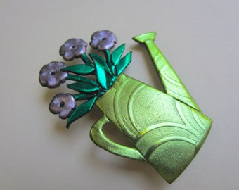Watering can of lavender flowers bouquet gardening pin brooch
