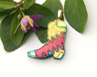 Fused dichroic glass pendant, boot, yellow, red, gold, cowboy boot