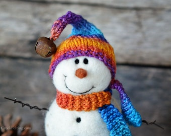 Snowman - handmade - needle felted- one of a kind -  738
