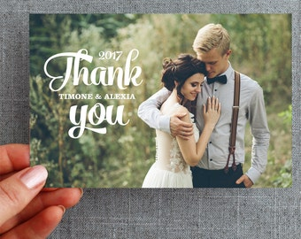 Digital File -Wedding Thank you card, postcard, with photo, brush lettering, Alexia Style