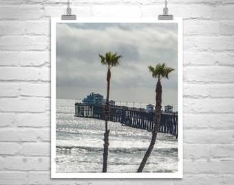 Black and White, Beach Photography, Oceanside, California, San Diego Art, Oceanside Pier, California Coast, Vertical Art, Ocean Piers