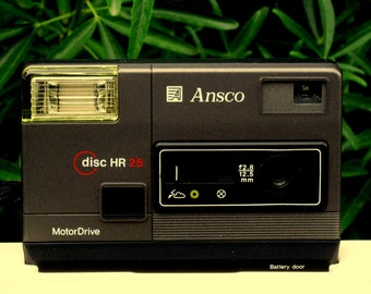 Vintage Black Ansco HR 25 Disc Camera in Partial Box for Display