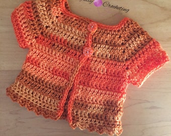 Newborn baby sweater.. Short sleeve sweater.. Orange variegated.. Ready to ship