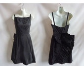 Vintage 50s Dress size S Black Cocktail Little LBD Pin Up Bow Ruffles Prom 60s