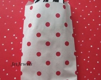 50 Paper Bags, Gift Bags, Candy Bags, Merchandise Bags, Retail Bags, Party Favor Bags, Red Paper Bags, Red Polka Dots, Small Paper Bags 4x6