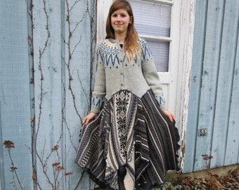 Lg. Gray Norwegian Fair Isle Yoke Upcycled Sweater Dress// Reconstructed// emmevielle