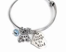 Cinderella Inspired Adjustable Bangle Bracelet - Have Courage and Be Kind - Cinderella Bracelet - Charm Bracelet Arm Candy - Princess