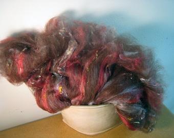 Alpcaca Art Batt, Red Brown Suri Alpaca with Red Tussah Silk, Soft, Sleek 2.5 oz, Small bit of Merino Wool, Silk Noil, Spinning Fiber