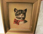 Antique Picture - House Cat - Tiger Cat - Vintage Wood Frame - Big Red Bow
