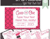 Printable EDITABLE DIY Valentines Day Coupons - Gift Coupons, DIY Gift, Instant Gift, Gift Tags, Love Tickets