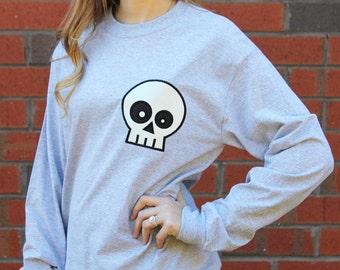 Halloween Skull T-Shirt, Halloween Tee, Gift for Her, Halloween