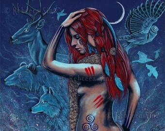 Spirit Guides ORIGINAL Painting Fantasy Art Shaman Woman Animals Magic Tribal Tattoos Wolf bear deer owl moon night Red Hair