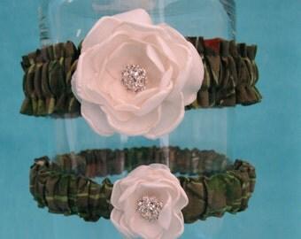 Bridal Garters,  Hunter Camo and Ivory Rose Garter Set H151, wedding accessory
