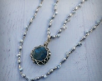 Winter Necklace Set - Labradorite and Pearl Necklaces - Silver Pearls - Bridal Necklaces - Gemstone Necklaces - Wire Wrapped - READY to SHIP