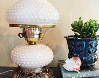 milk glass lamp - large fenton hobnail table lamp - white glass lamp with brass base
