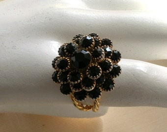 Vintage Czech W German French Jet Rhinestone Flower Ring Adjustable
