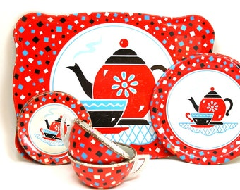 60s Tin Toy Tea Set, 7 pieces, Coffee for One by Ohio Art Co.  Cups, plates, saucers & tray.