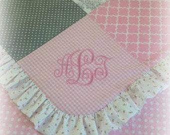 Monogrammed Baby Quilt, Baby Girl Nursery