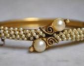 Florenza Gold & Pearl Hinged Bangle