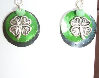 Shamrock can earrings