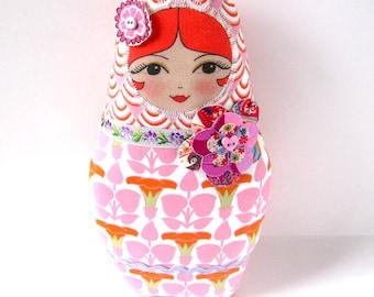 Handmade Art Doll, Babushka Doll, Cloth Matryoshka Doll, Red Haired Doll, Matryoshka Plush
