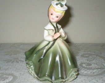 """Napco Girl Planter Figurine Figure With Flowing Green Victorion Dress & Petticoat Large 6"""" Vintage Napcoware"""