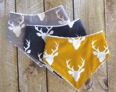 Bandana Bib - Baby - Baby Bandana Bib Set - Buffalo Plaid Bib - Fish Bib - Deer Bib - Drooling - Bib Gift Set