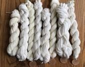 NUDIS dyer's sample pack, undyed yarn, yarn for dyeing, dyeing for beginners, bamboo yarn, merino yarn, silk yarn, alpaca yarn, wool yarn