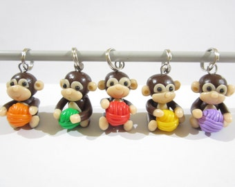 Knitting Monkey Stitch Markers, cute charms funny knitting accessories, knit animal, gift for her knitter, yarn balls, colorful polymer clay