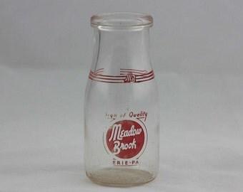 Vintage Meadow Brook Dairy Milk Bottle - Erie Pennsylvania - Half Pint