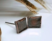 Dark Polished Copper Studs, Organic Rectangle Post Earrings, Bricks, Primitive, Relic, Industrial, Weathered Copper, Men, Man, Guys, Women