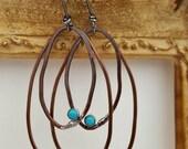 Relic Hoop Earrings, Bronze, Copper, Sterling, Fine Silver, Sleeping Beauty Turquoise, Lightweight, Boho, Bohemian Gypsy Free Spirit Jewelry
