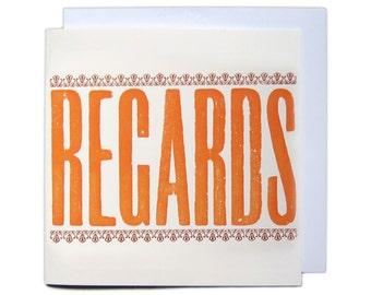 Letterpress Woodblock Greetings Card - Regards